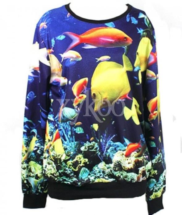 Fish Sweater Pullovers Sweatshirt