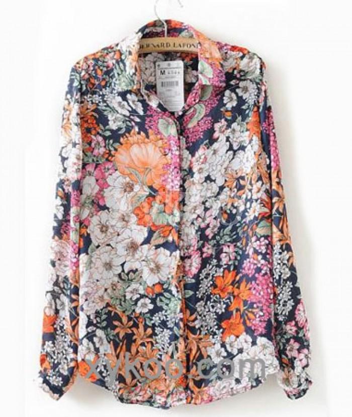 women chiffon print floral shirt