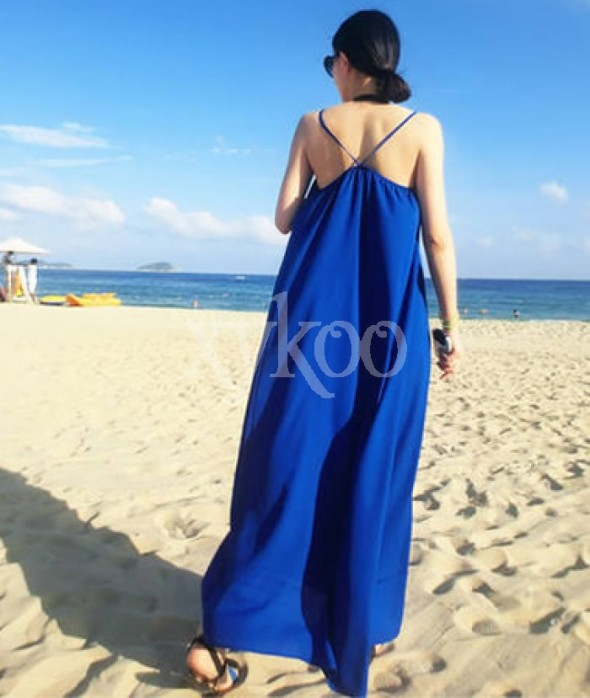 Chiffon Strapless Backless Blue Beach Boho Dress Shop Women's Fashion Clothing & Men's Designer Clothing | XYKOO