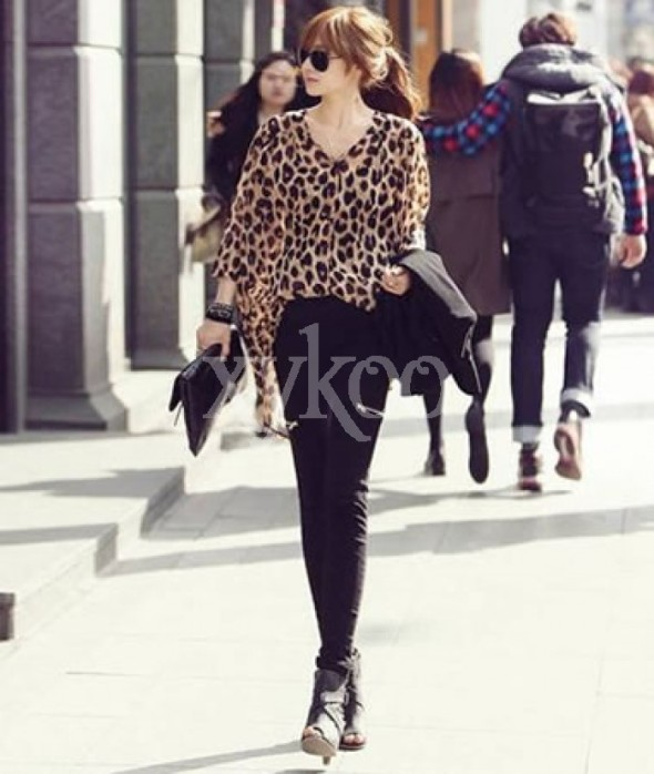 women chiffon leopard blouse