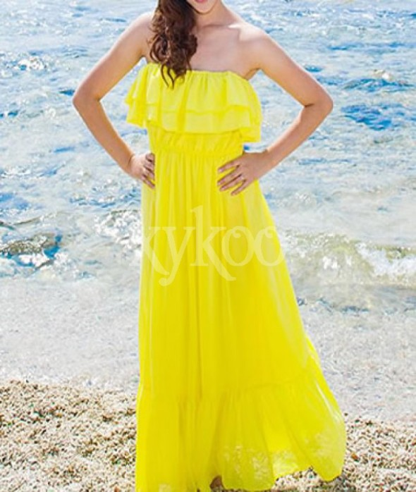Bohemian Chiffon Strapless Yellow Dress