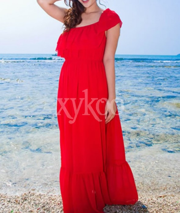 Bohemian Chiffon Strapless Red Dress