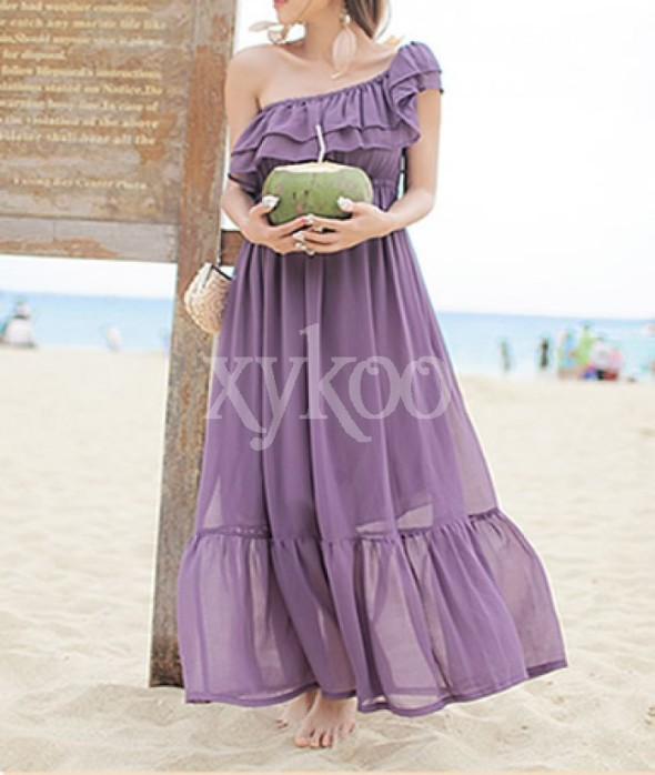 Bohemian Chiffon Strapless Purple Dress