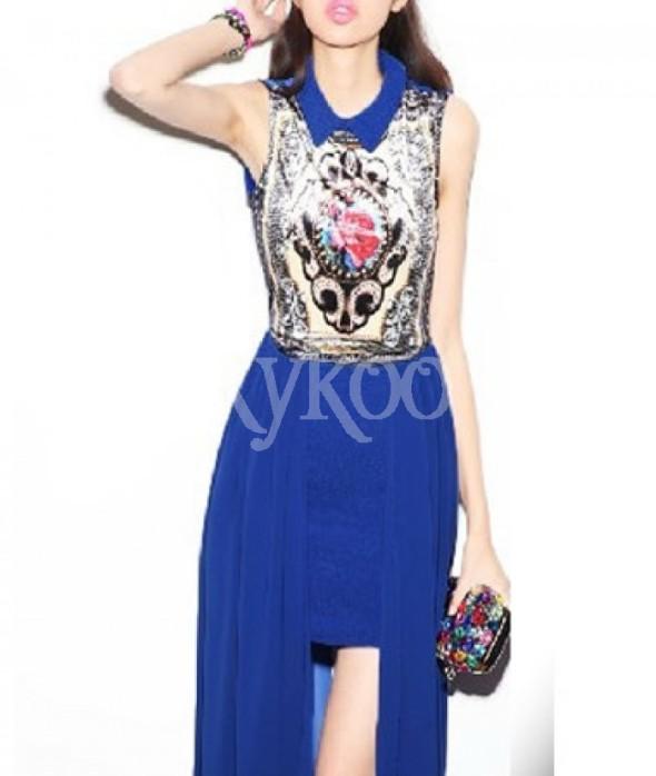 Retro Print Designer Irregular Hem Chiffon Skirt Blue Dress Summer Clothes For Women | Boutique Clothing For Women | Casual Wear For Women