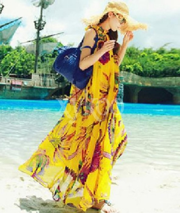 Boho Beach Chiffon Long Yellow Dress